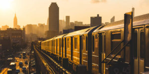Train-and-New-York-Skyline-Sepia